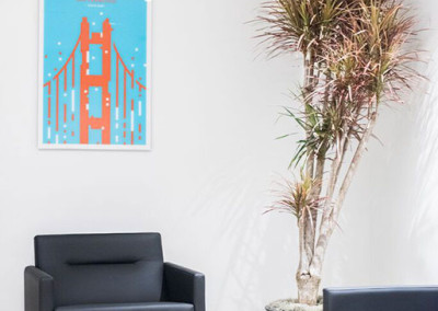 A modern office space staged with a Dracaena Marginata Colorama plant, next to a grey sofa and chair, and a painting of the San Francisco Golden Gate Bridge on the wall.