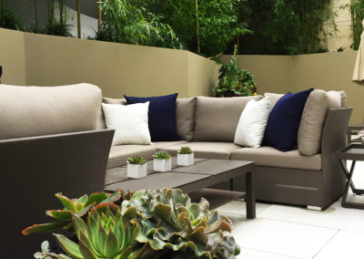 An image of a patio area with furniture, a succulent arrangement in a round white pot, and 3 small square pots with single succulents potted in each, in front of tall bamboo in the background.